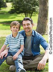 父, 公園, 男の子, 肖像画