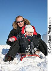 父, 冬, そりで滑べりなさい, 子供