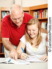 父, 助け, 娘, 勉強しなさい