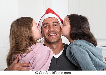 父, 女の子, クリスマス, ∥(彼・それ)ら∥, 接吻, 日
