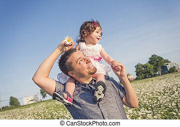 父, 娘, うれしい, 幸せ