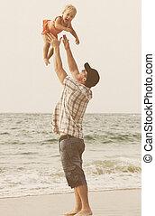 父, 娘, 休暇, 海