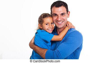 父, 娘, 抱き合う