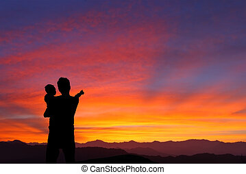 父, 子供, シルエット, 日の出, 監視
