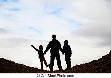 父, 子供, シルエット, 2