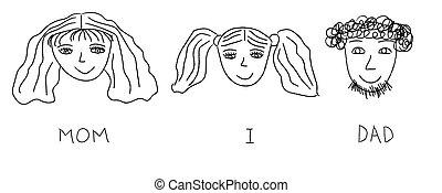 父, 子供, (mother, 家族, illustration., drawing., daughter), 肖像画, ベクトル