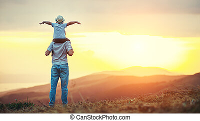 父, 家族, 息子, 自然, 日没, 幸せ