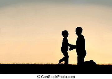 父, 幸せ, シルエット, 日没, 息子