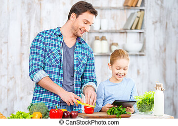 父, 幸せ, 一緒に, 娘, 料理