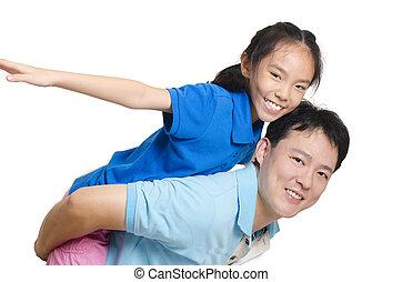 父, 幸せ, 娘