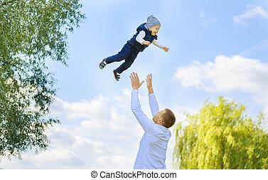 父, 幸せ, 息子