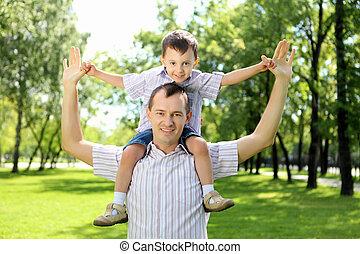 父, 彼の, 公園, 息子