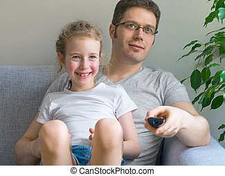 父, 彼の, 娘, tv., 監視