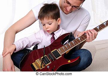 父, 彼の, 教える, 若い, 息子