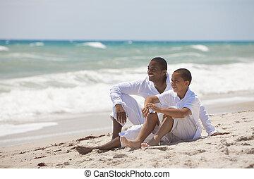 父, 息子, アメリカ人, アフリカ, 浜, 幸せ