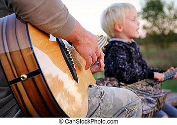 父, 息子, ギター, 外, 歌うこと, 遊び