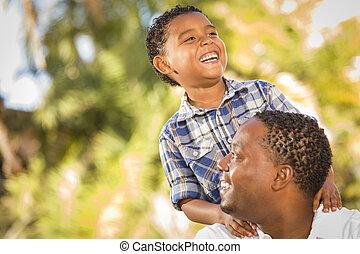 父, 息子, レース, 混ぜられた, 遊び, 幸せ