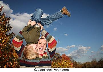 父, 息子, 下方に, 上側, 持ち上がること, 幸せ