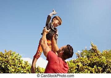 父, 息子, 屋外で, 楽しみ, 持つこと, 幸せ