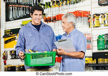 父, 息子, 工具店, 道具, 購入