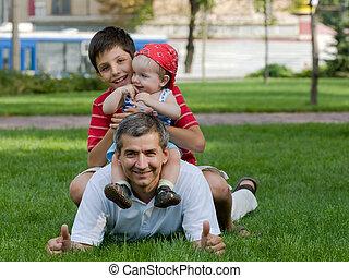 父, 息子, 彼の, 公園