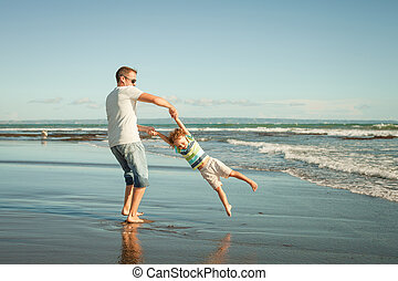 父, 息子, 時間, 浜, 遊び, 日