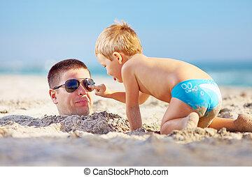 父, 息子, 砂, 楽しみ, 浜, 持つこと
