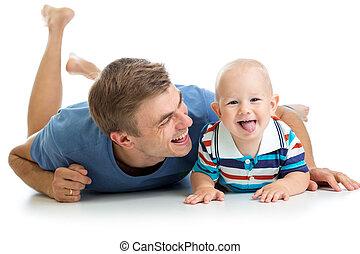 父, 息子, 赤ん坊, 娯楽, 楽しみ, 持つこと, 幸せ