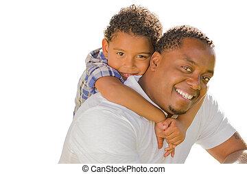 父, 息子, piggyback, レース, 混ぜられた, 白, 遊び
