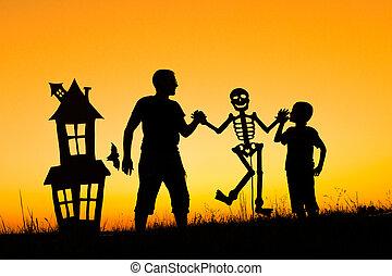 父, 息子, time., 日没, 屋外で, 遊び, 幸せ