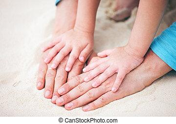父, 手, 娘, 砂