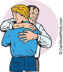 父, 抱き合う, 息子