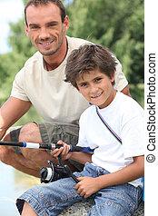父, 旅行, 釣り, 息子