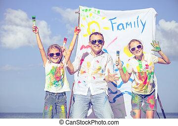 父, 日, 子供, time., 浜, 遊び