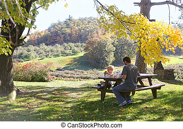 父, 果樹園, 木, 下に, 子供, アップル, ピクニック
