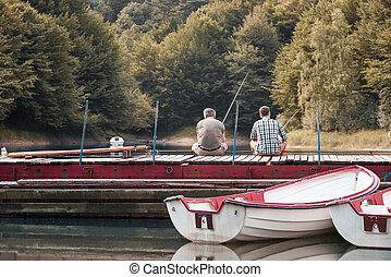 父, 桟橋, 釣り, 一緒に, 息子