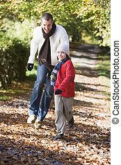 父, 森林地帯, 息子, 動くこと, 道, 前方へ