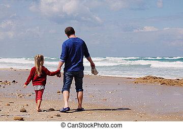 父, 歩くこと, 浜, 娘