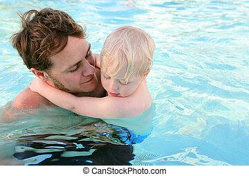父, 水, 届く, によって, 子供, プール, 水泳