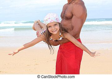 父, 浜, 娘