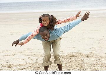 父, 浜, 娘, 遊び