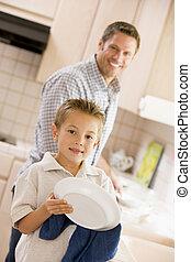 父, 清掃, 皿, 息子