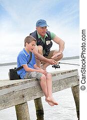 父, 湖釣, 息子