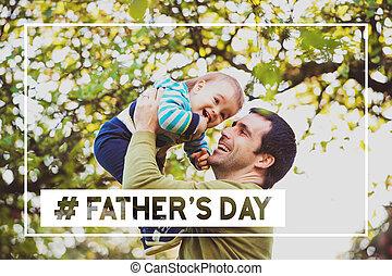 父, 父, 空気。, 息子, day., 赤ん坊, 持ち上がること