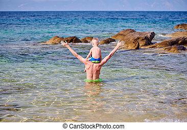 父, 男の子, 肩, よちよち歩きの子, 浜