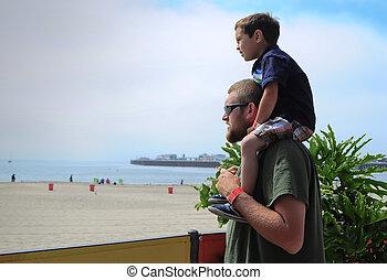 父, 男の子, 肩, 浜