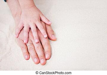 父, 砂, 娘, 手
