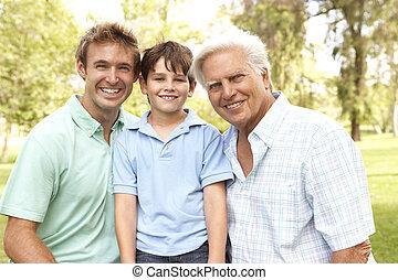 父, 祖父, 公園, 息子