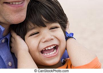 父, 笑い, 一緒に, 息子