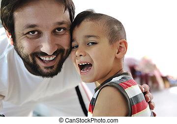 父, 笑い, 息子